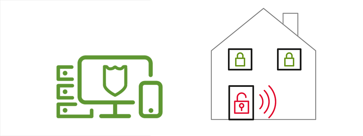 Endpoint Detection Response House icon with lock