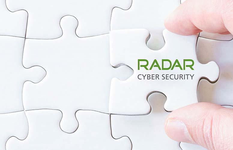 Puzzle piece with Radar Cyber security logo