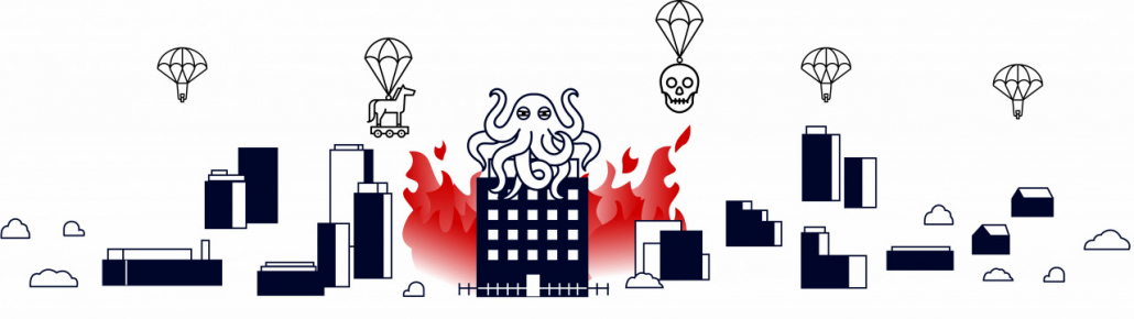 Cybersecurity burning house